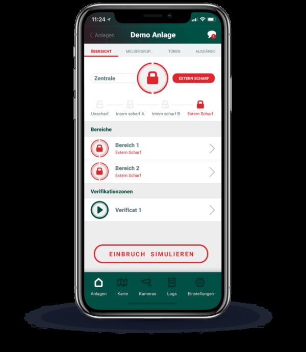 Hauptmenü der App zur Verwaltung der Alarmanlage