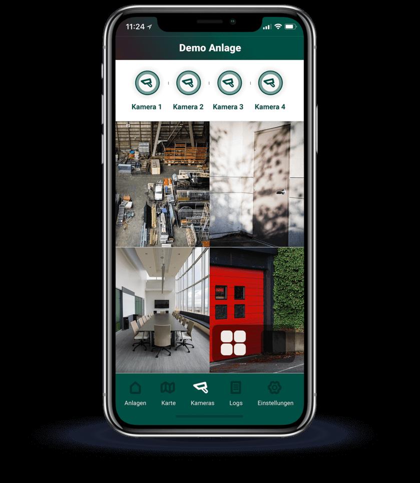 Alle Kameras mit Live-Bild auf einen Blick in der App