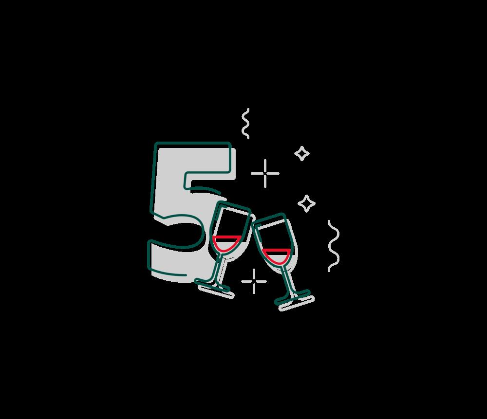 2D-Illustration zum fünfjährigen Jubiläum